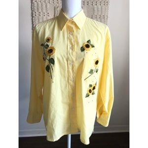 Vintage Draper's & Damon's Yellow Sunflowers Top